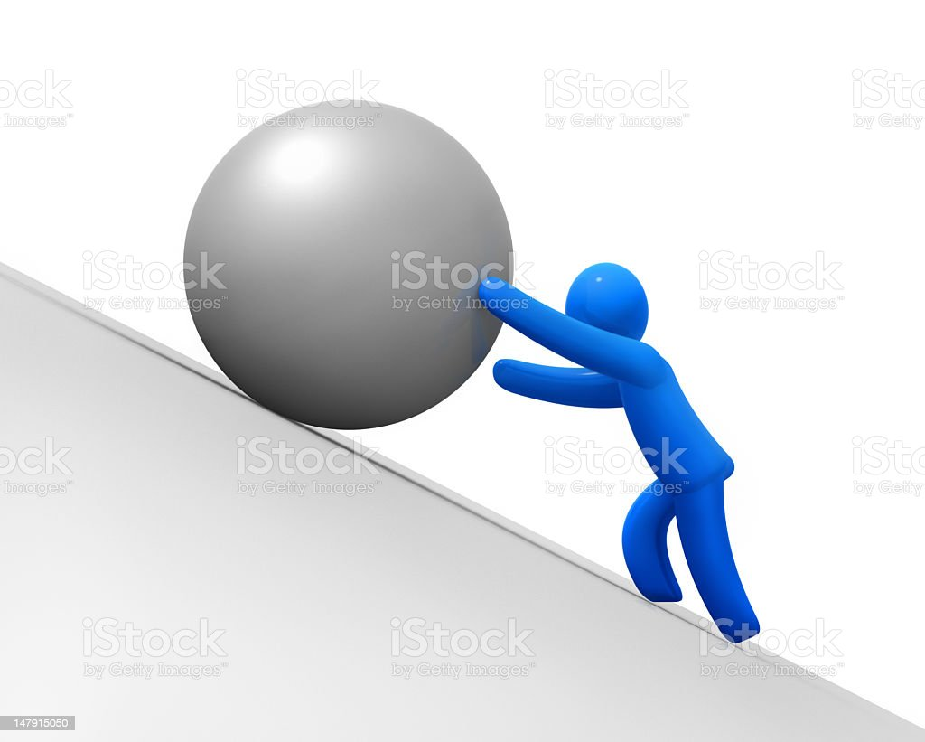 Sisyphus moving up a ball on something high royalty-free stock photo
