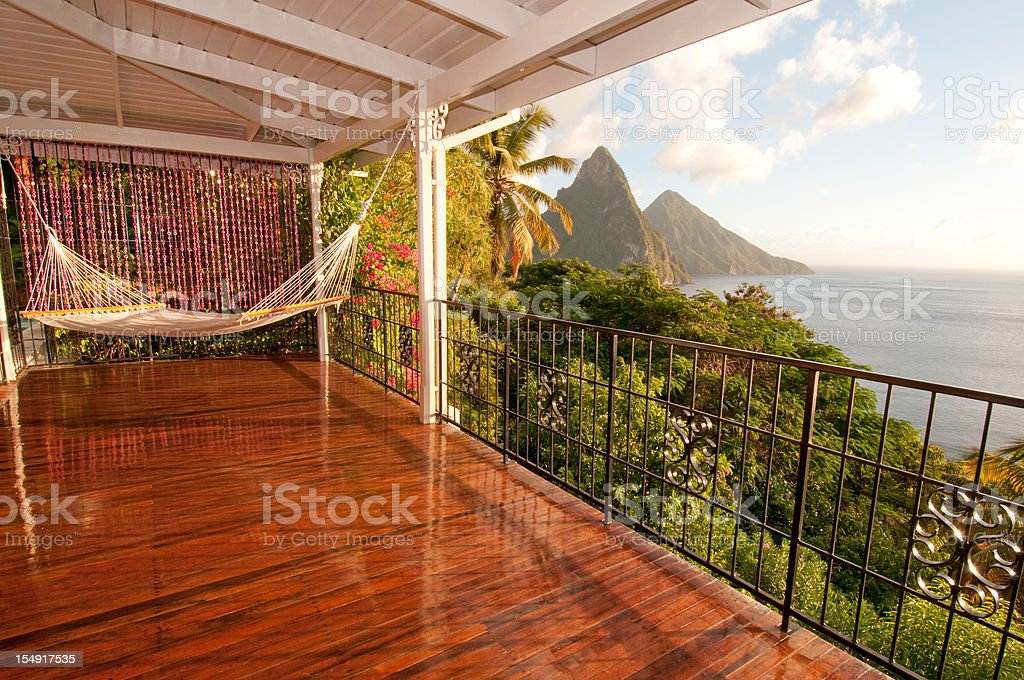 Sit in hammock and enjoy Twin Piton view stock photo