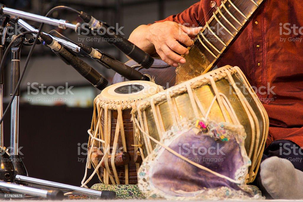 Sitar and Bongo Drums stock photo