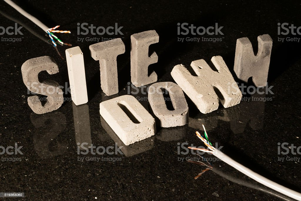 Site down text when website is unavailable stock photo
