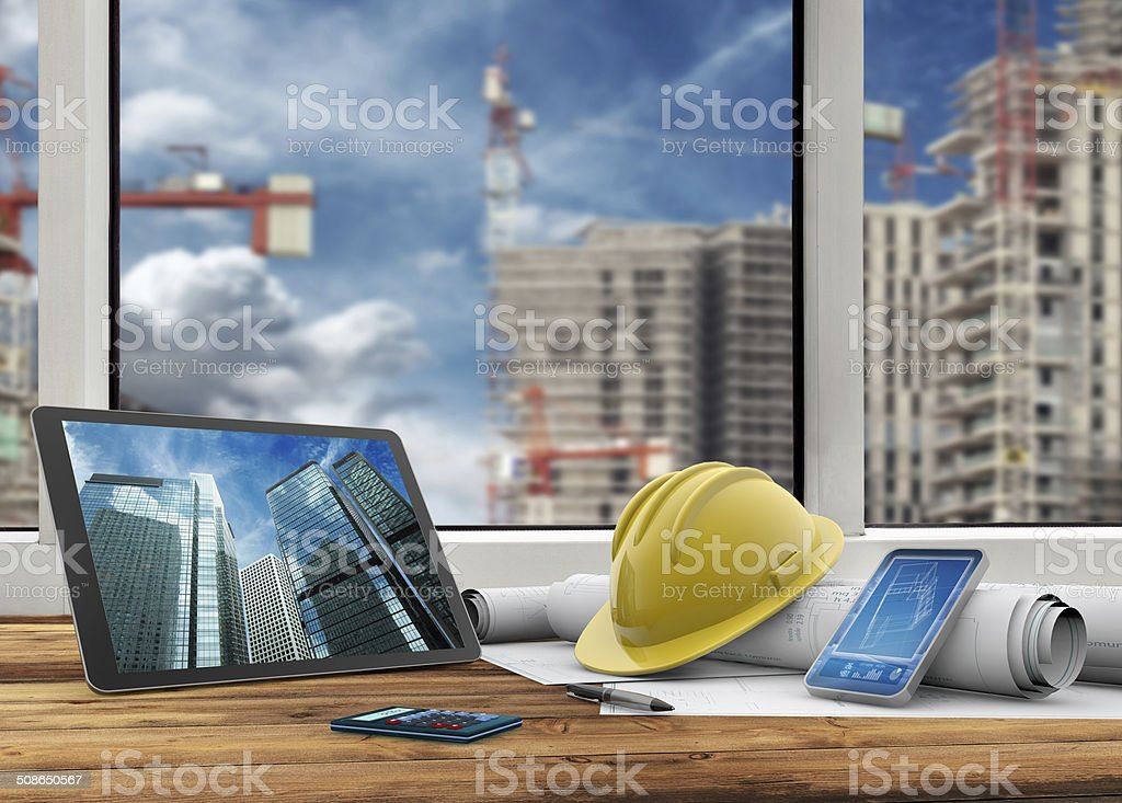 site manager's office stock photo