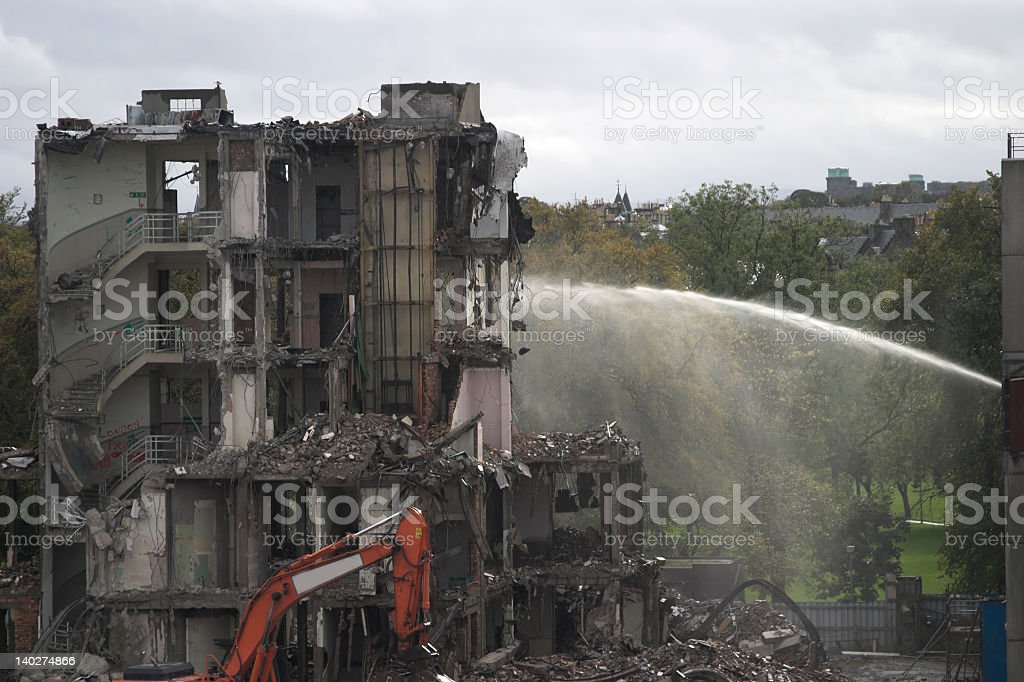 Site number 3 in a building landscape being destroyed royalty-free stock photo