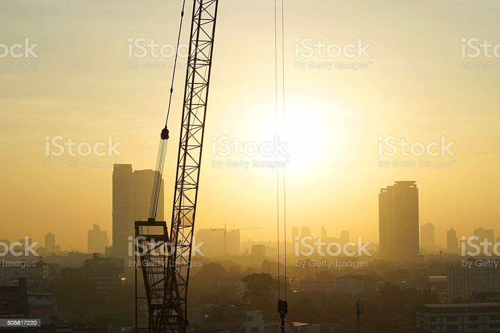 site of construction on sunrise in morning stock photo