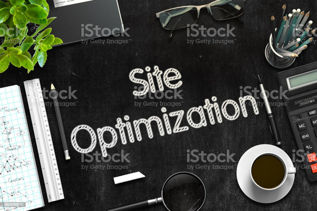 Site Optimization Concept on Black Chalkboard. 3D Rendering stock photo