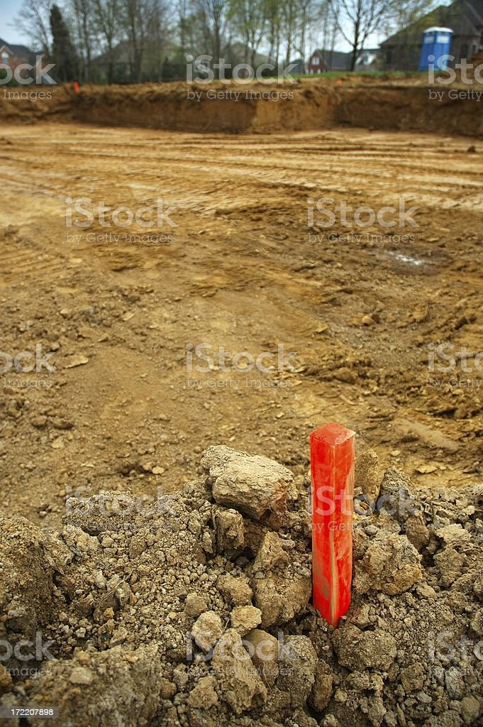 Site Survey Marker and Dug Foundation stock photo