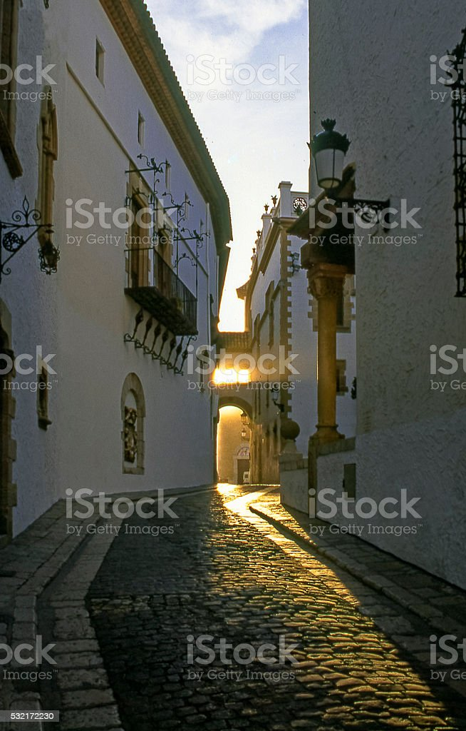 Sitges alley stock photo