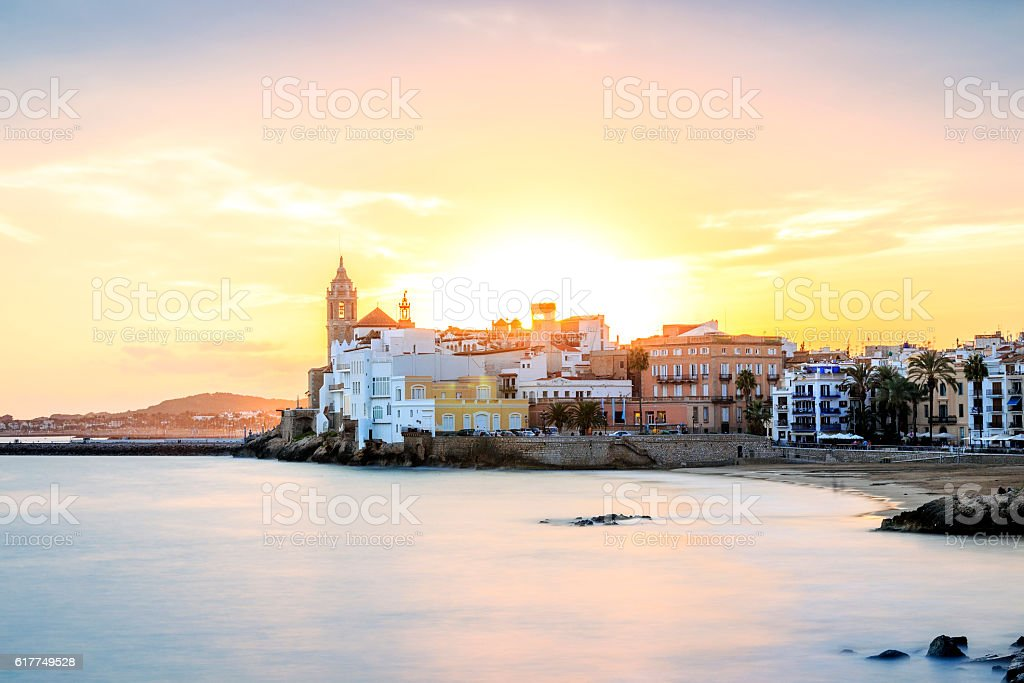 Sitges at sunset, Catalonia, Spain stock photo