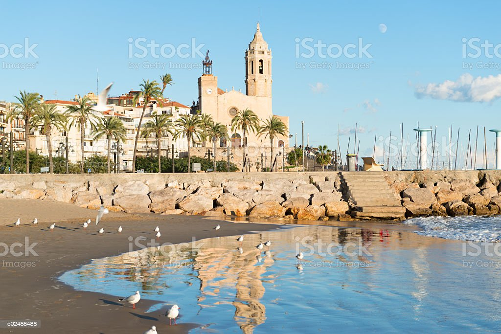 Sitges - Church of St. Bartholomew and Santa Tecla stock photo