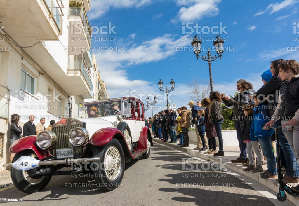 Sitges, Spain - March 5 2017: 59th Vintage Car Rally Barcelona-Sitges stock photo