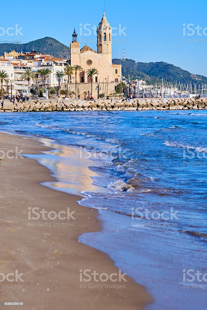 Sitges views from the beach stock photo