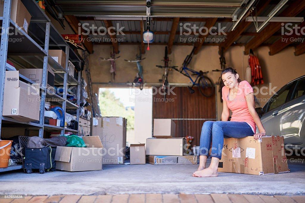 Sitting amongst the storage stock photo