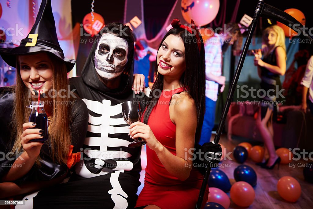 Sitting at the party and having some drinks stock photo