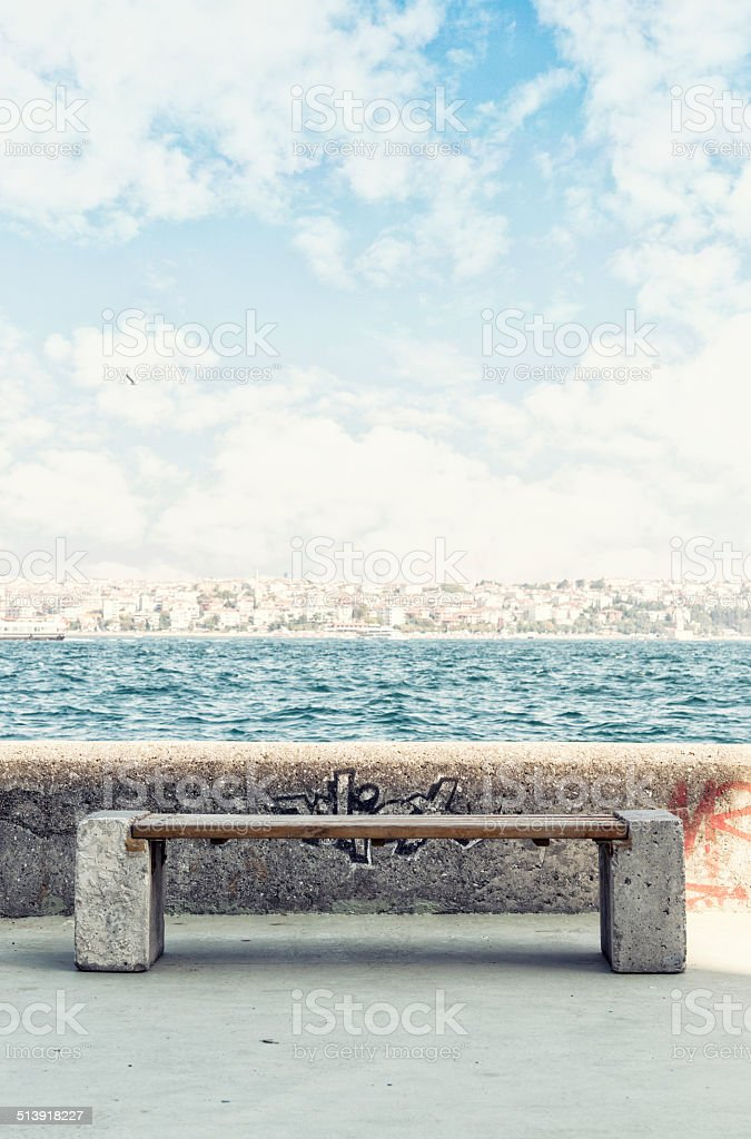 Sitting bench stock photo