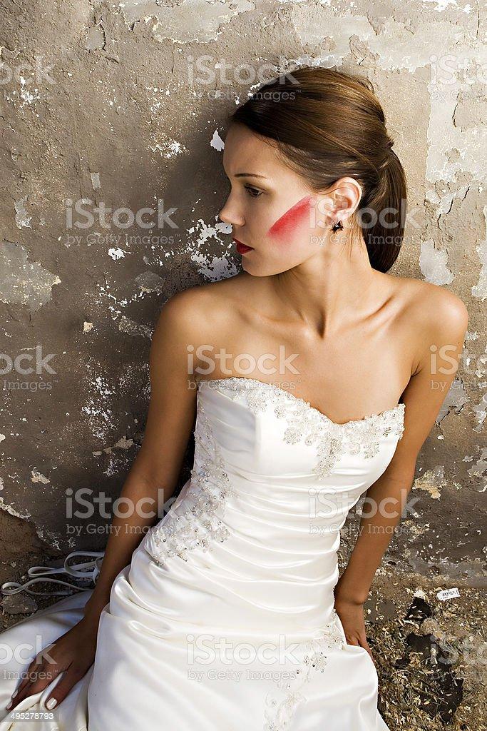 Sitting bride stock photo