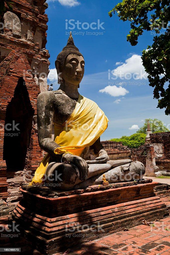 Sitting Buddha at Ayutthaya, Thailand royalty-free stock photo