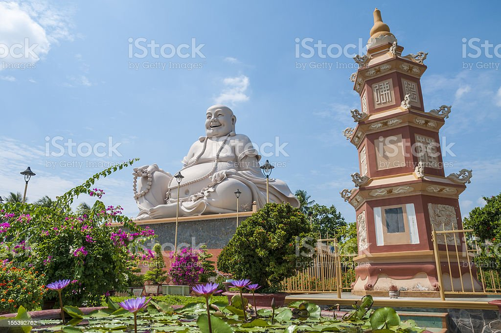 Sitting Buddha In Vinh Trang Pagoda In My Tho, Vietnam stock photo