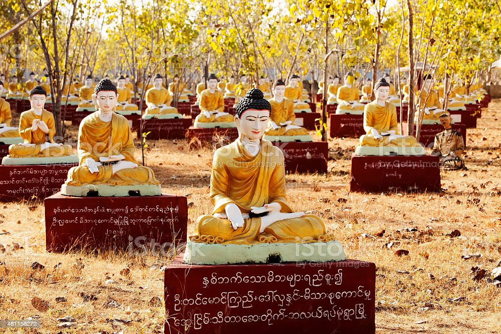 Sitting Buddha statues beneath a Bodhi tree in Monywa, Myanmar. stock photo
