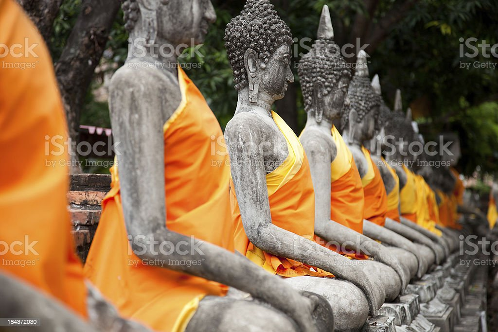 Sitting Buddhas images at Wat Yai Chai Mongkol, Ayutthaya, Thailand stock photo