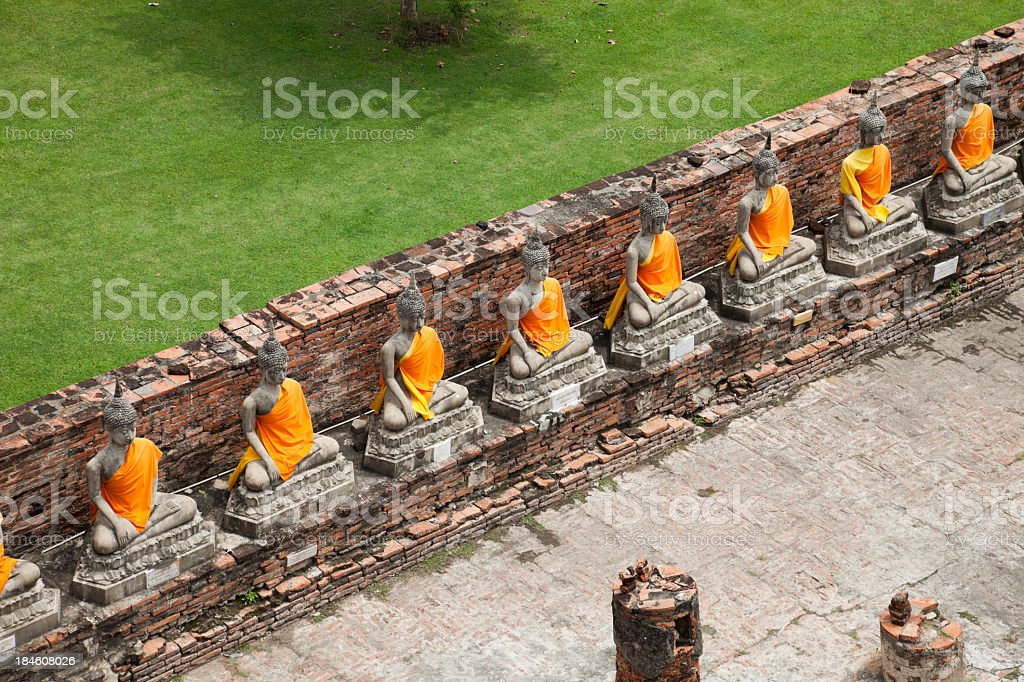 Sitting Buddhas images at Wat Yai Chai Mongkol, Ayutthaya, Thailand royalty-free stock photo