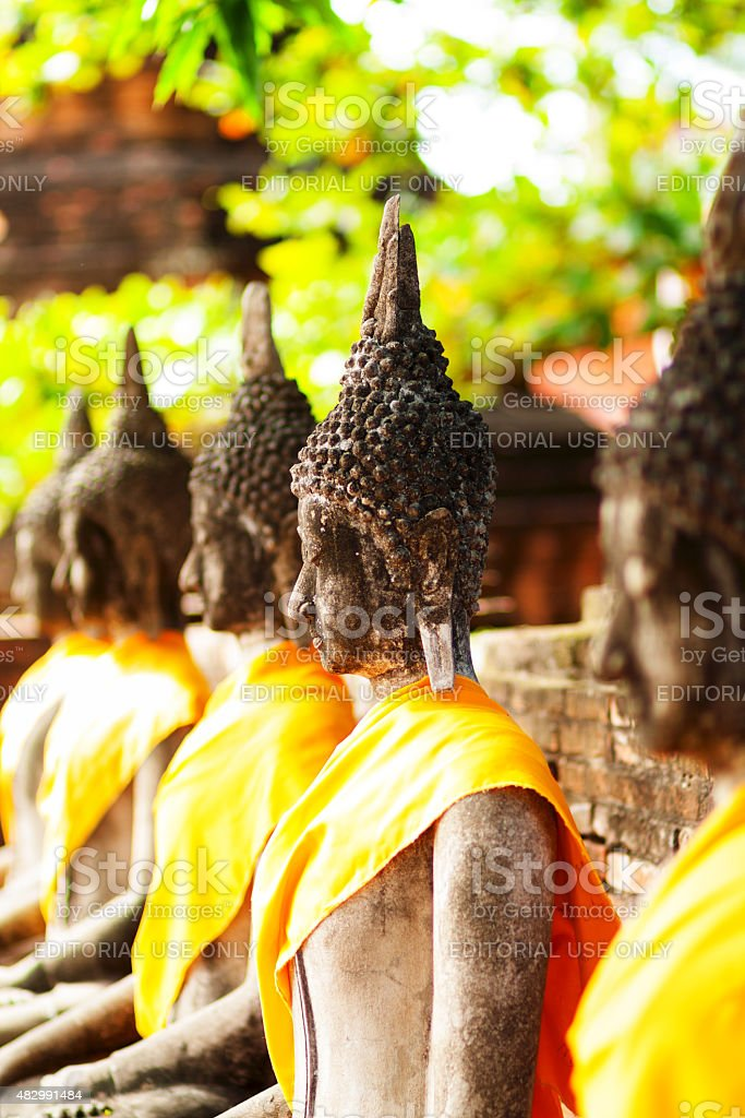 Sitting buddhas under trees and on wall stock photo