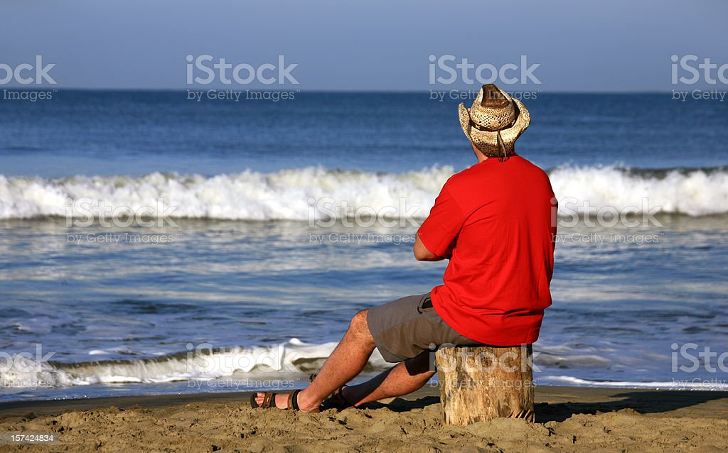 Sitting by the Ocean royalty-free stock photo