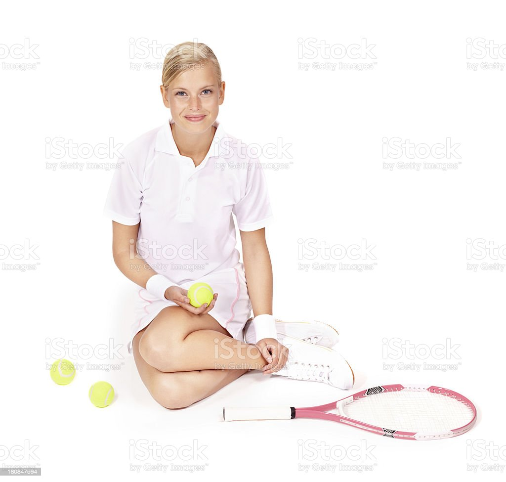 Sitting down after a hard-fought match royalty-free stock photo
