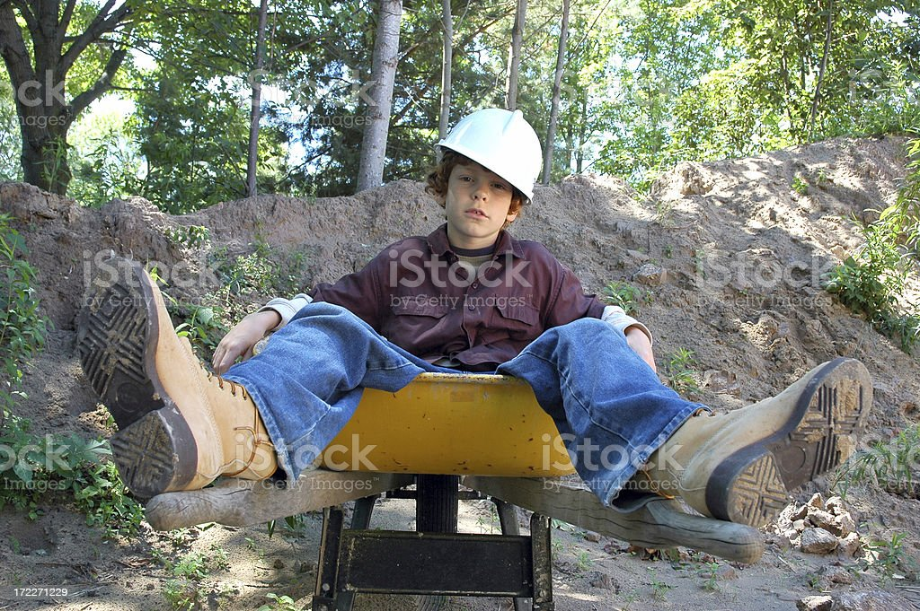 Sitting Down on the Job royalty-free stock photo