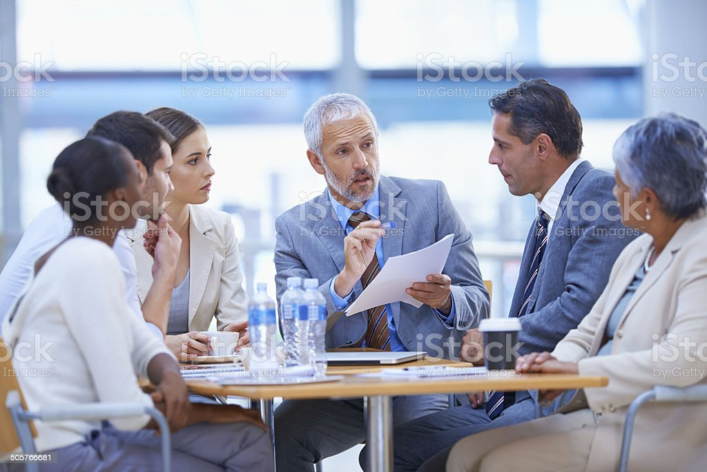 Sitting down to strategise stock photo