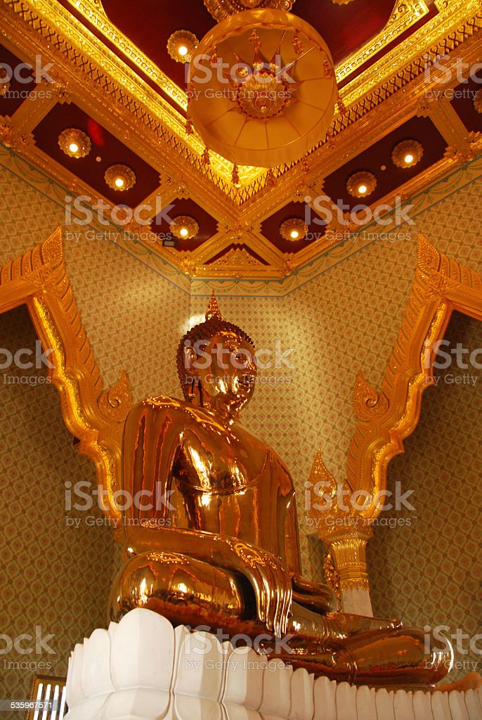 Sitting Golden Buddha at the Wat Traimit temple . stock photo