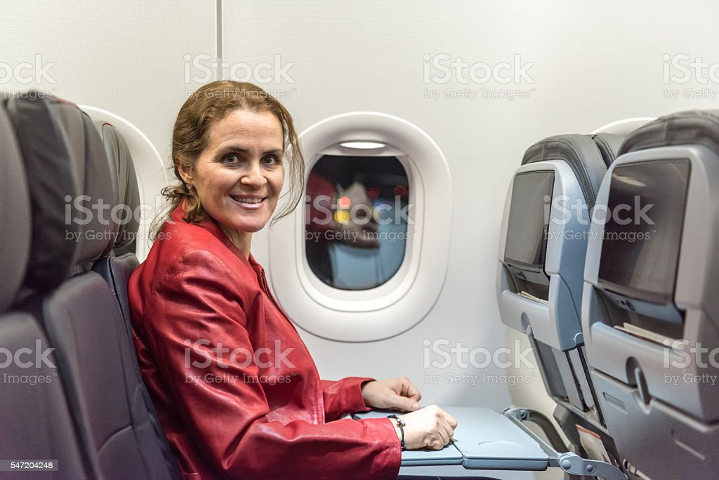Sitting in business class stock photo
