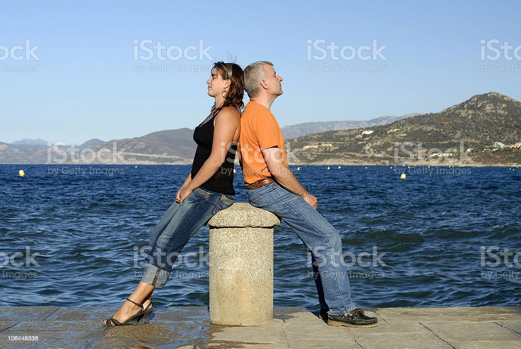 sitting in front of the sea royalty-free stock photo
