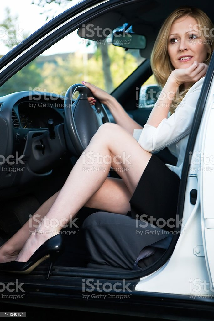 Sitting in the car royalty-free stock photo