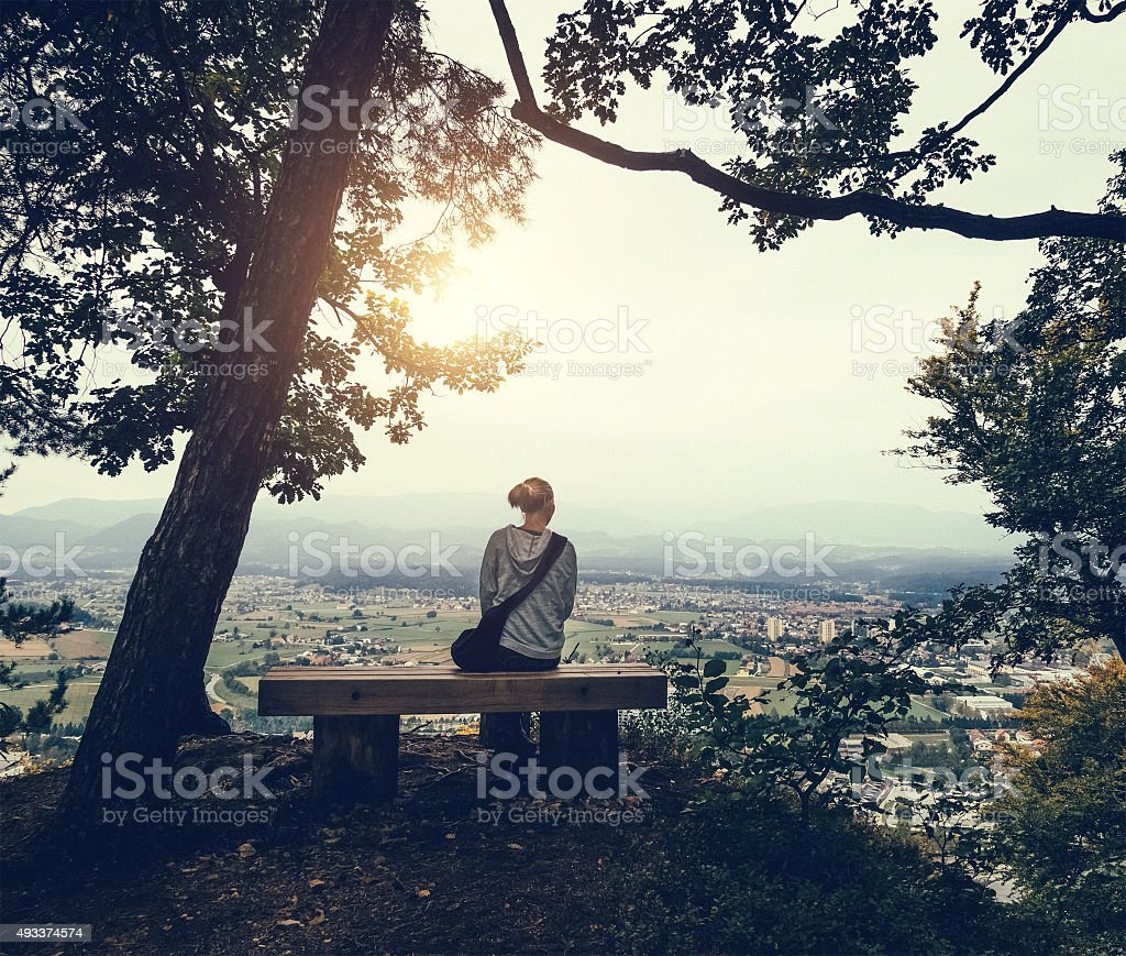 Sitting In The Forest Above The City stock photo