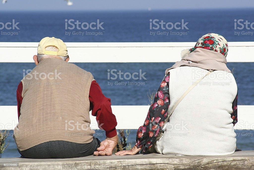 sitting old couple royalty-free stock photo