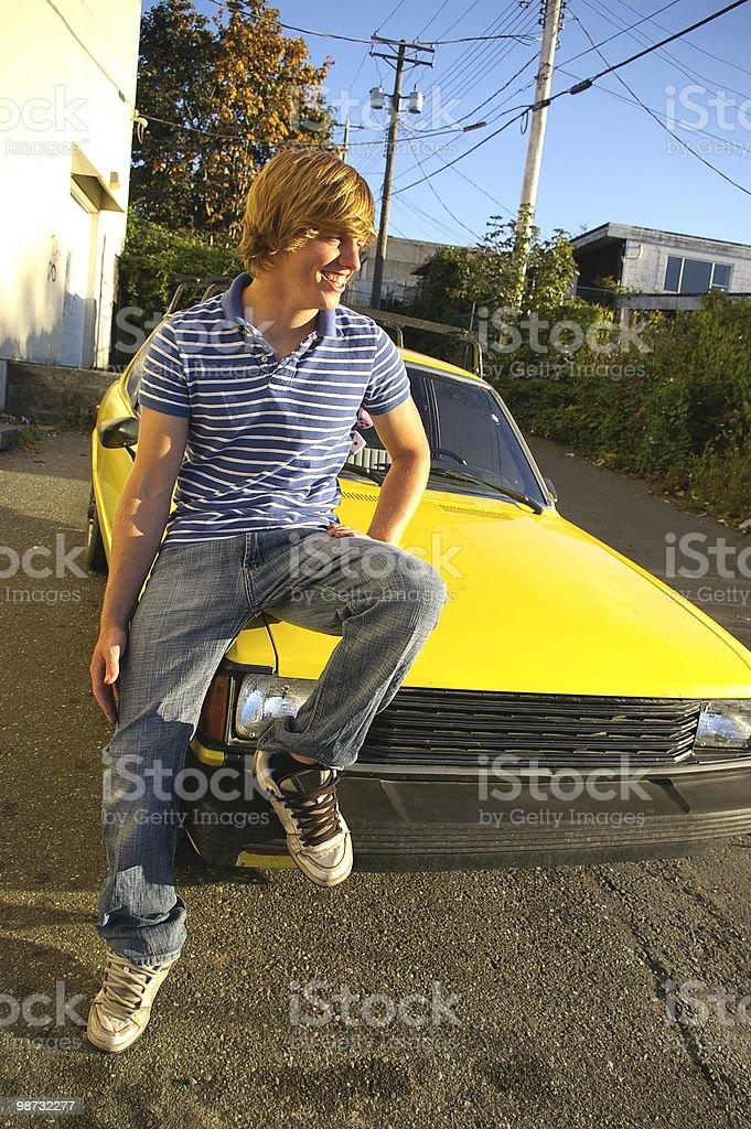 Sitting on Car stock photo