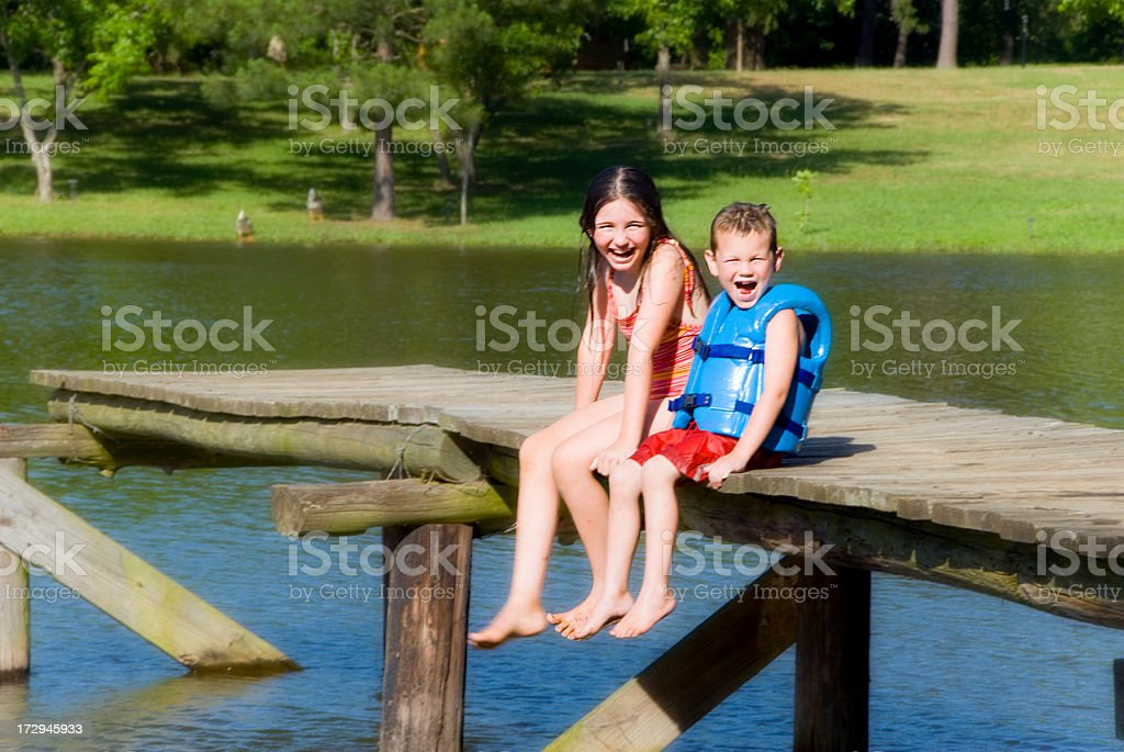 Sitting on Dock royalty-free stock photo