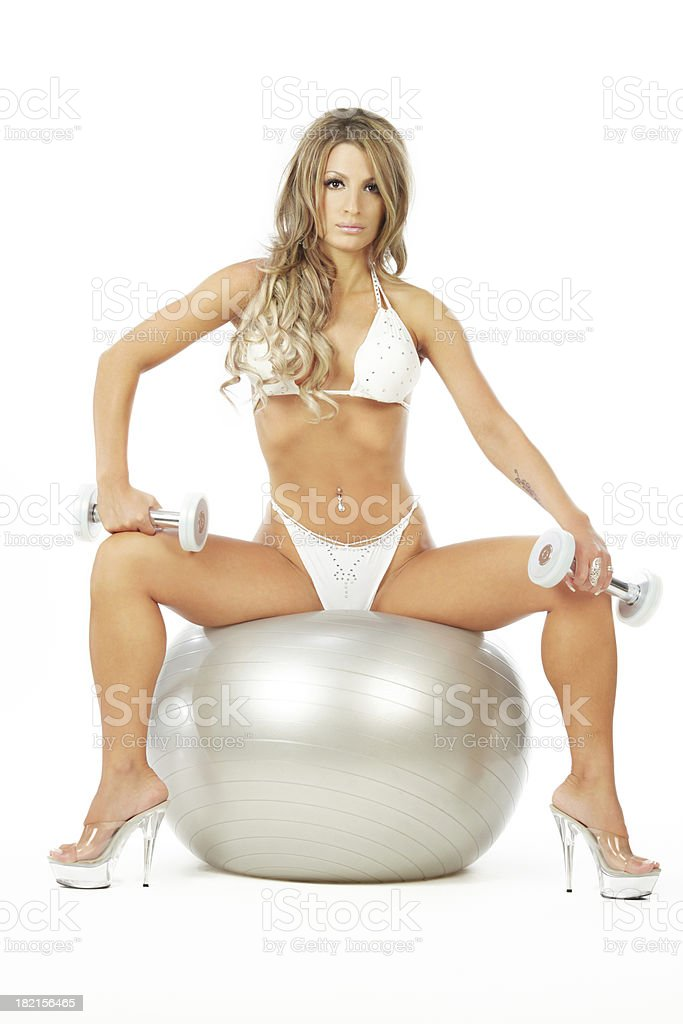 Sitting on the ball royalty-free stock photo