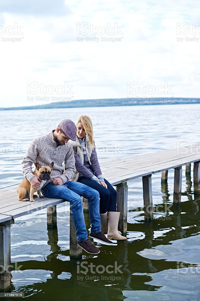Sitting on the bridge royalty-free stock photo