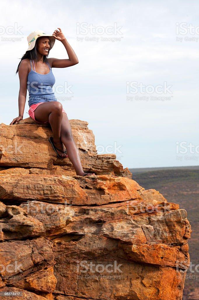 Sitting on the edge stock photo