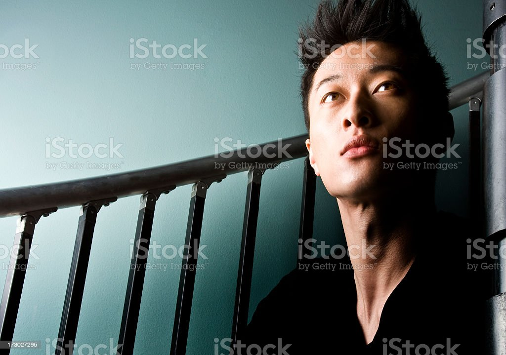 sitting on the stairs royalty-free stock photo