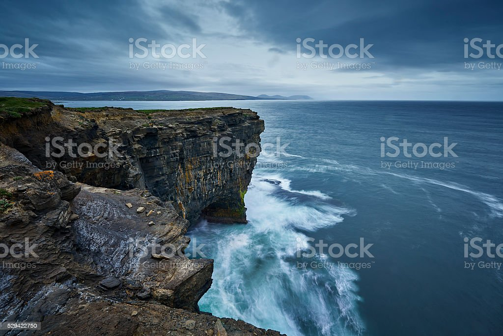 Sitting out in the wild Atlantic Ocean, Downpatrick Head stock photo