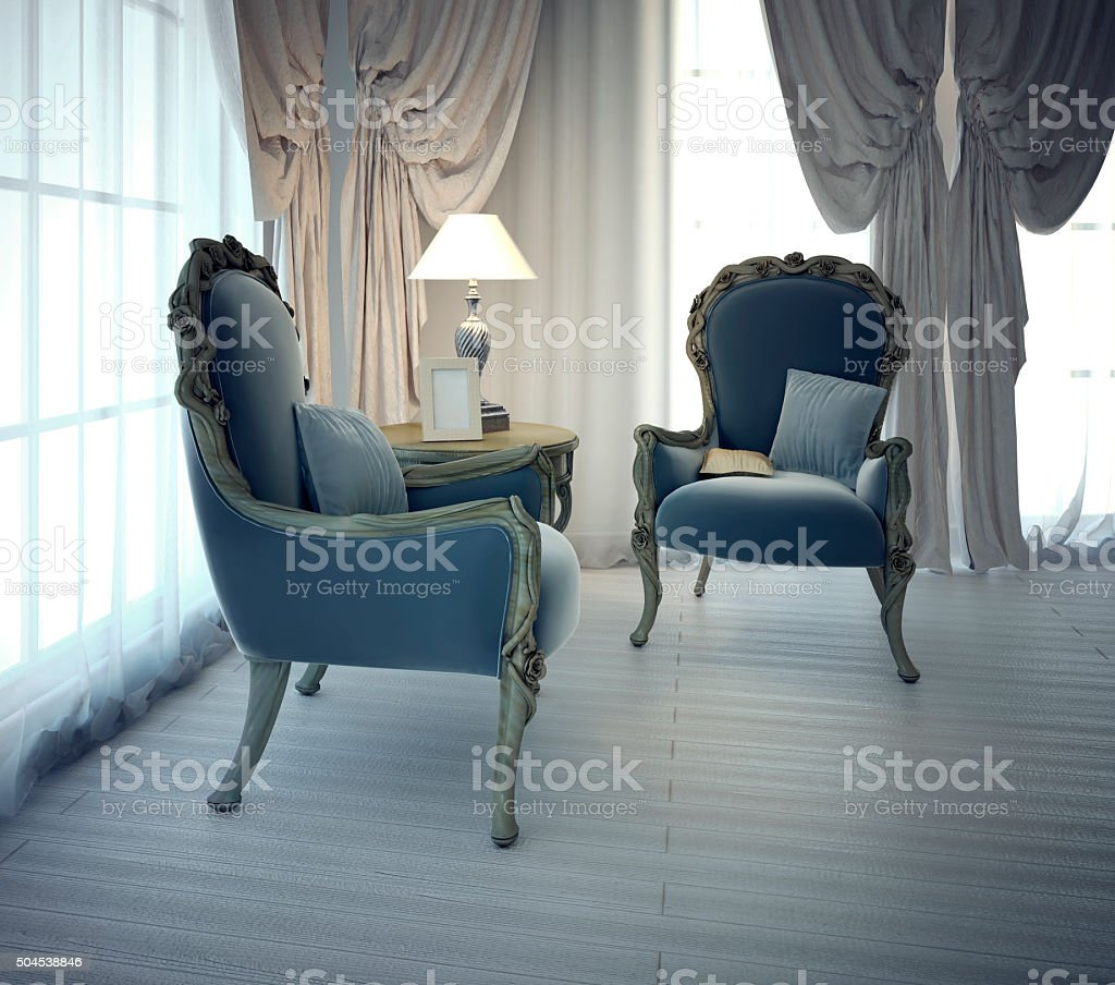 Sitting place for negotiation in private house stock photo