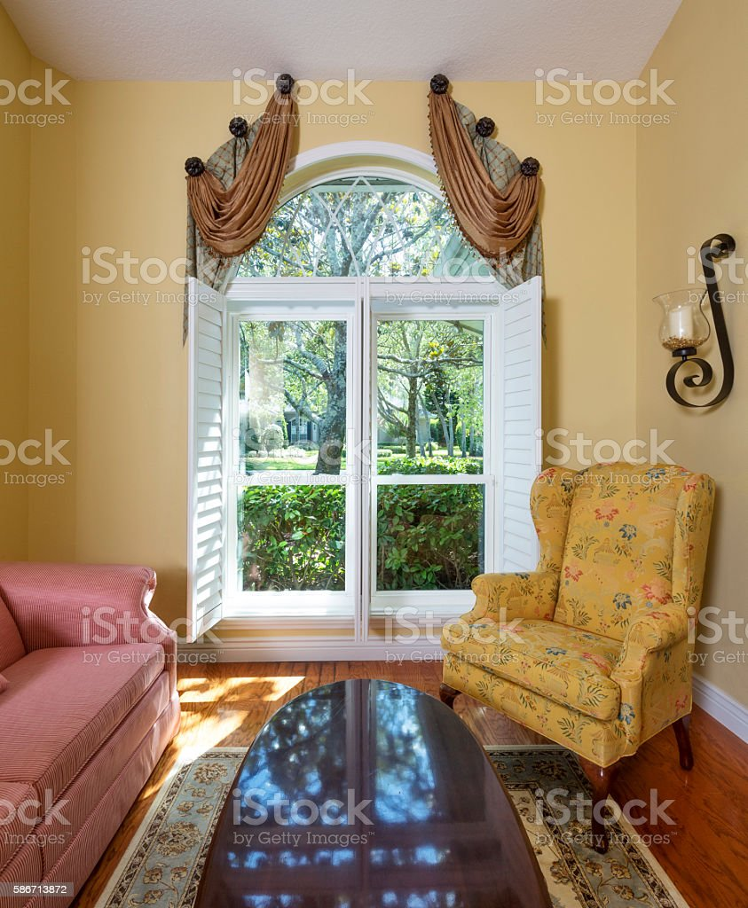 Sitting Room Featuring a New Window stock photo