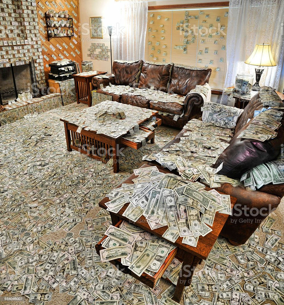 Sitting room filled with money stock photo