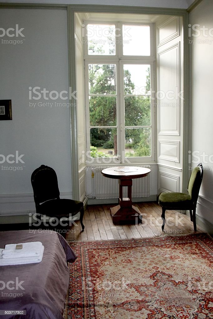 Sitting Room In An Old French Chateau stock photo