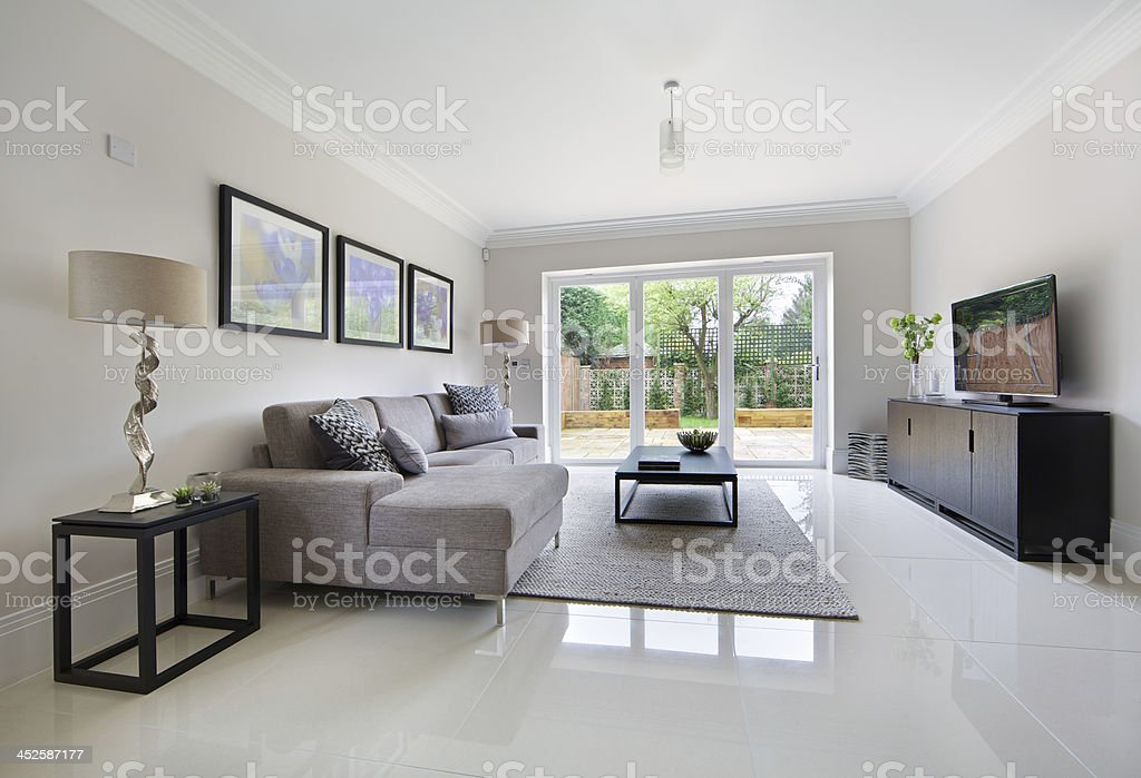 TV sitting room stock photo