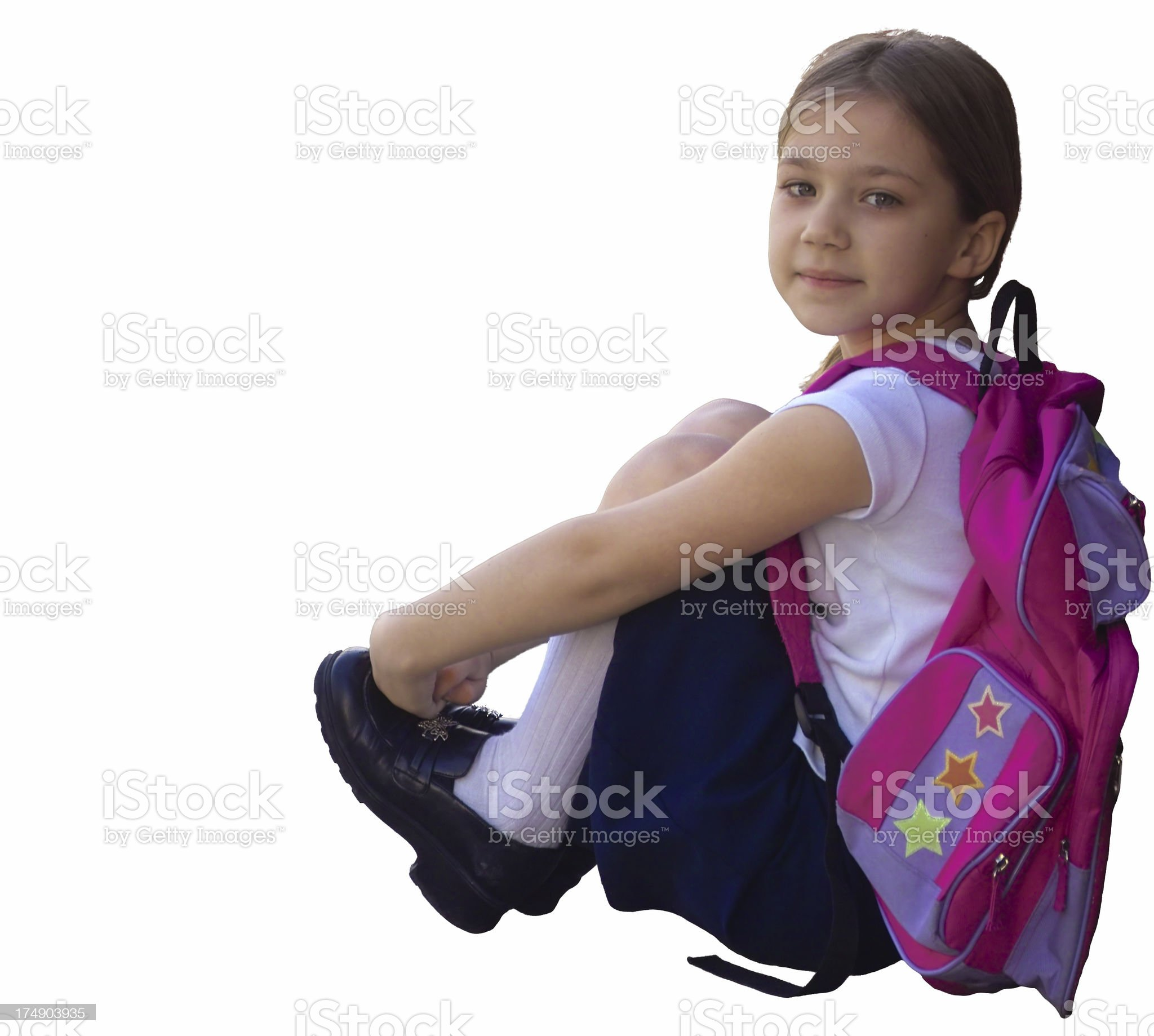 Sitting Schoolgirl royalty-free stock photo