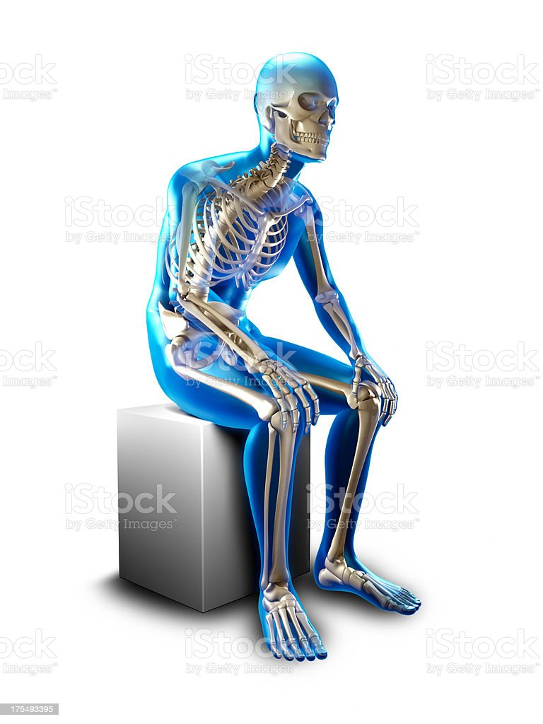 Sitting slumped x-ray  - isolated with clipping path stock photo