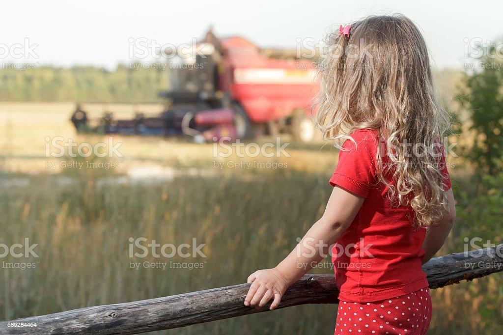 Sitting spectator girl watching over working combine harvester stock photo