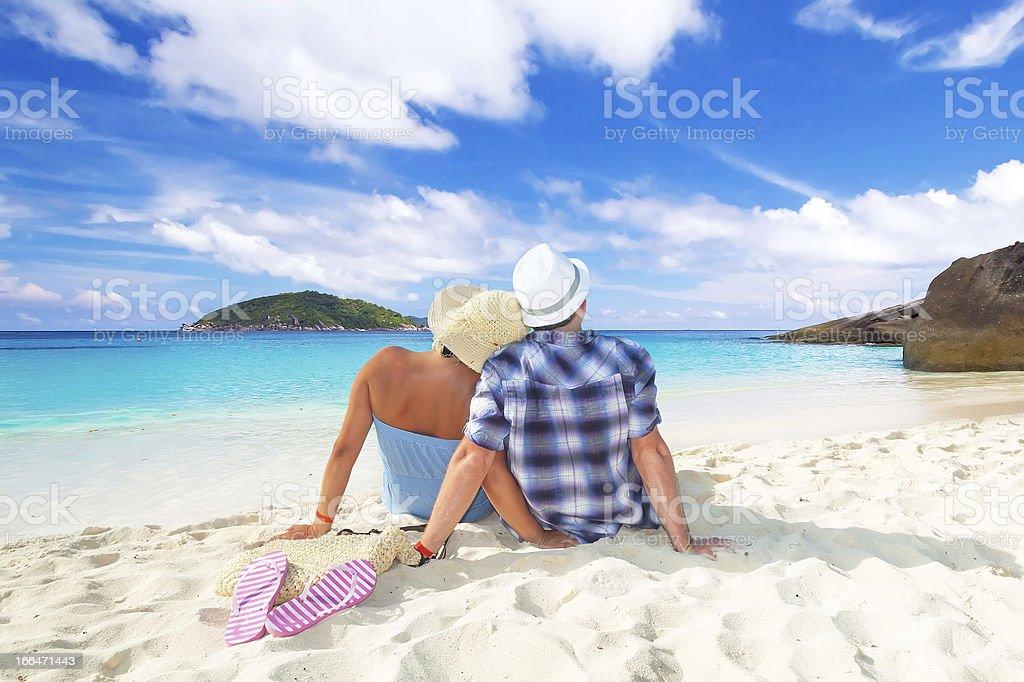 Sitting together at the Andaman Sea royalty-free stock photo